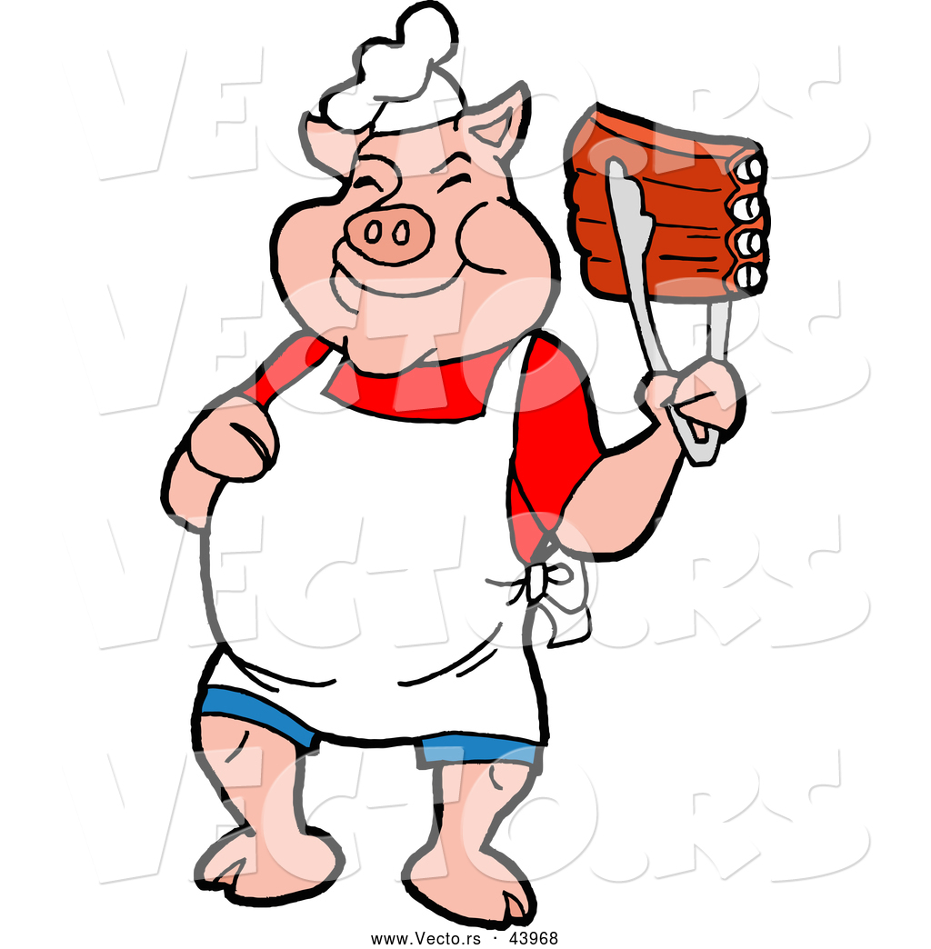 1024x1044 Vector Of A Smiling Cartoon Pig Chef Holding Up Tasty Bbq Ribs