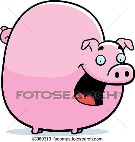 447x470 Clip Art Of Fat Pig K3969319