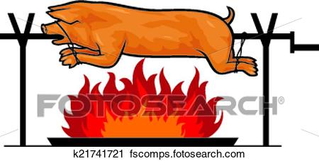 450x227 Clipart Of Roasted Pig On A Spit K21741721