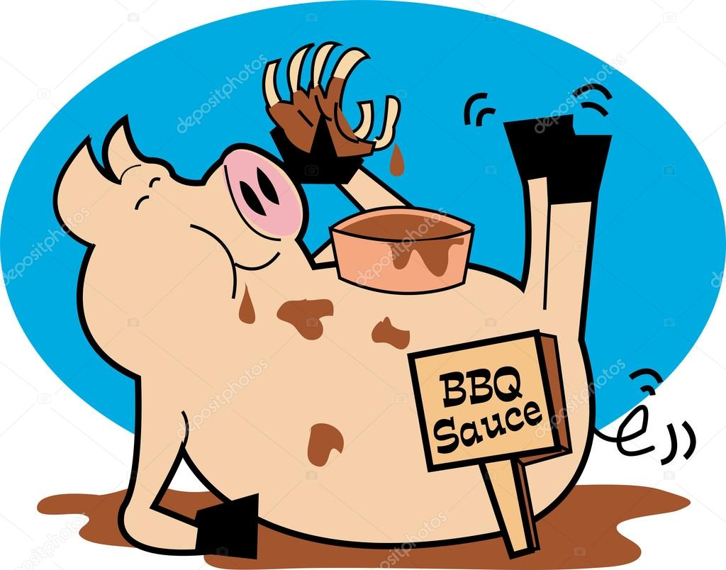 1024x804 Fat, Hugry Pig Chowing Down On Ribs And Bbq Sauce Stock Vector