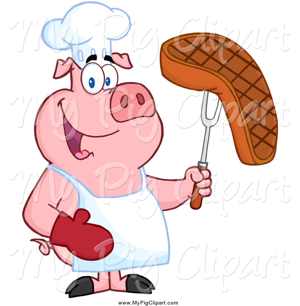 1024x1044 Swine Clipart Of A Chef Pig Holding A Steak On A Bbq Fork By Hit