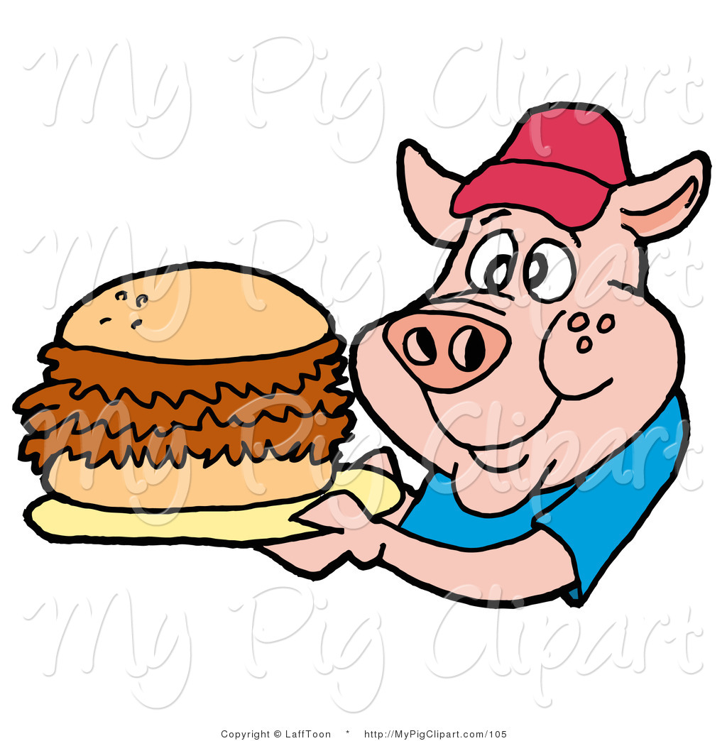 1024x1044 Swine Clipart Of A Male Fast Food Pig In A Red Hat And Blue Shirt