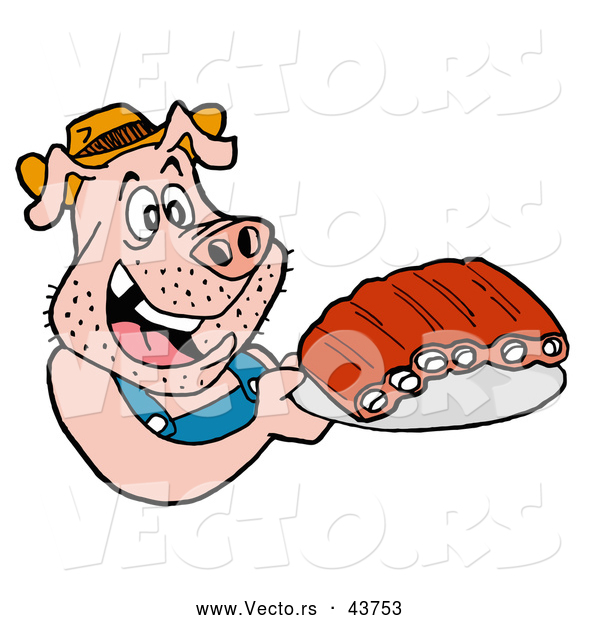 600x620 Vector Of A Happy Cartoon Pig Holding Plate Of Bbq Ribs By