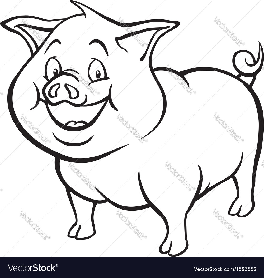Pig Black And White Clipart