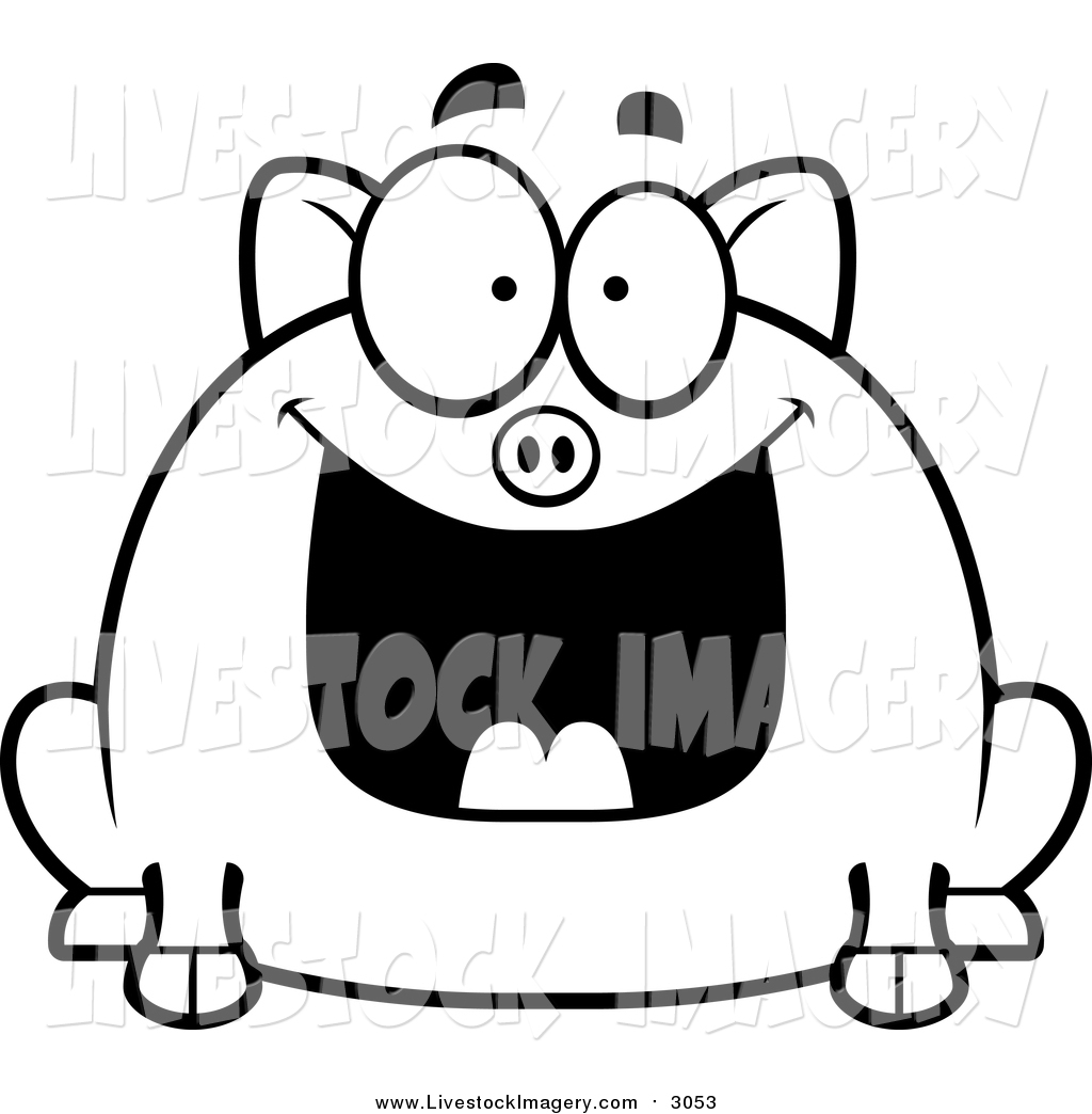 1024x1044 Clip Art Of A Black And White Grinning Pig By Cory Thoman