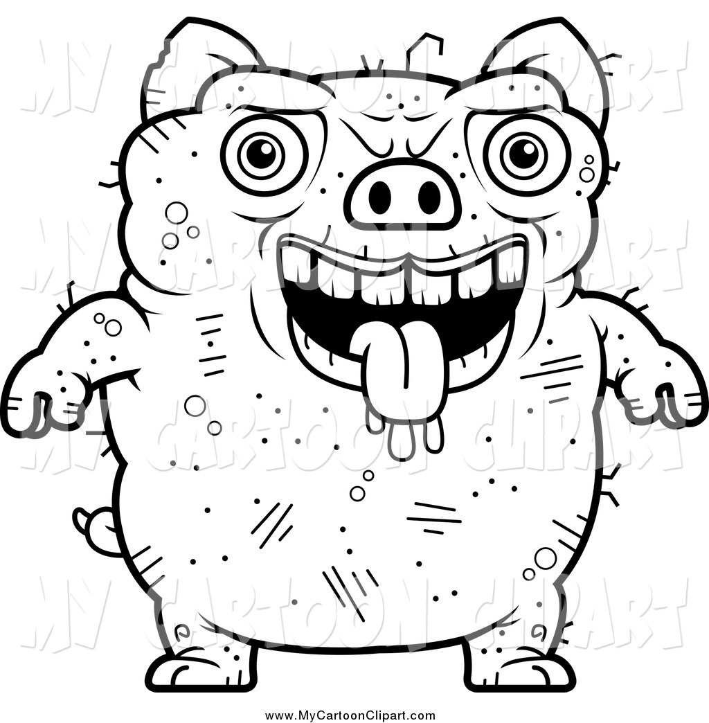1024x1044 Clip Art Of A Black And White Ugly Pig By Cory Thoman