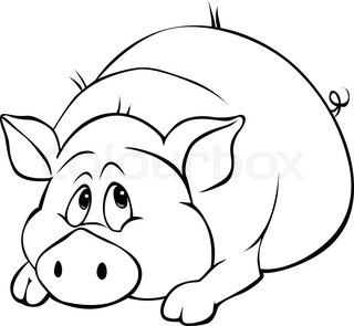 320x295 Lazy Pig Taking A Break. Vector Clip Art Illustration With Simple