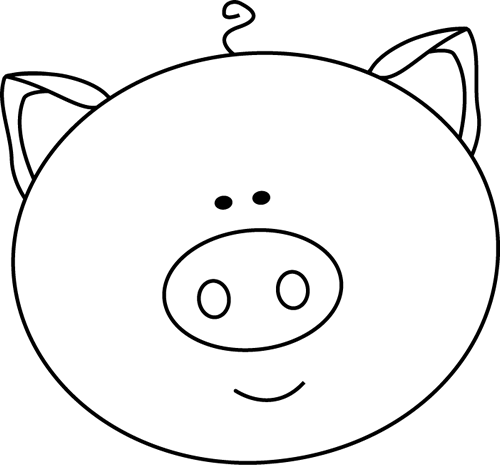 500x465 Black And White Pig Face Clip Art
