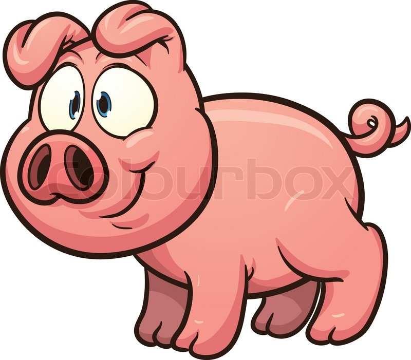 800x701 Little Cartoon Pig. Vector Clip Art Illustration With Simple