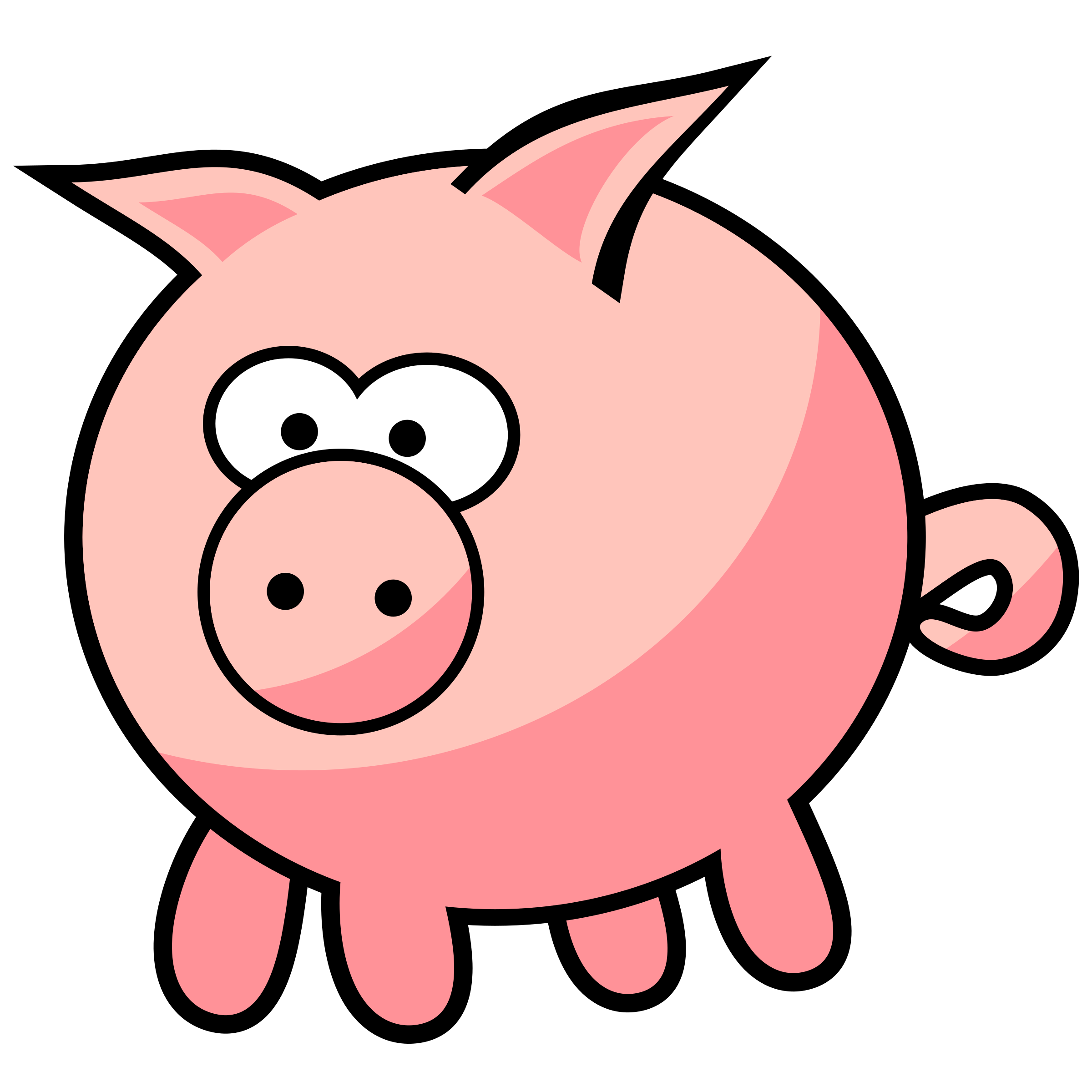 2400x2400 Cartoon Pig By @qubodup, Cute Pig (I Hope)., On @openclipart