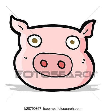 450x470 Clip Art Of Cartoon Pig Face K20790867