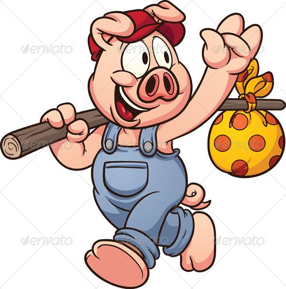 590x597 Cartoon Pig By Memoangeles Graphicriver