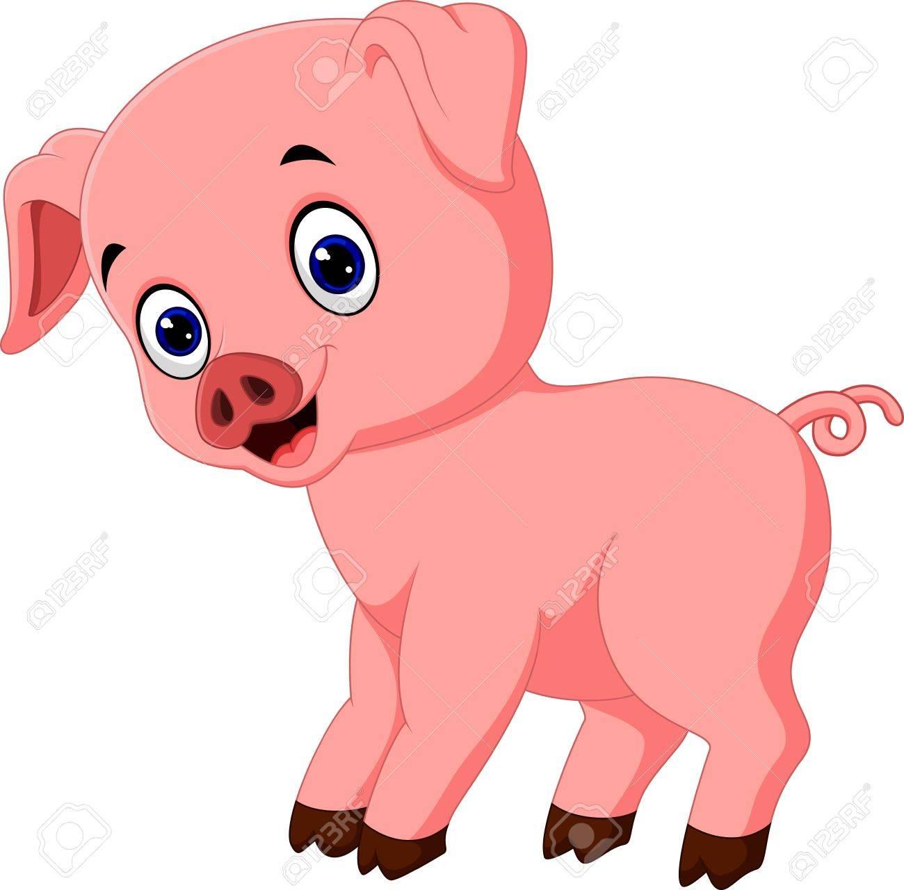 1300x1280 Cute Pig Cartoon Posing Royalty Free Cliparts, Vectors, And Stock