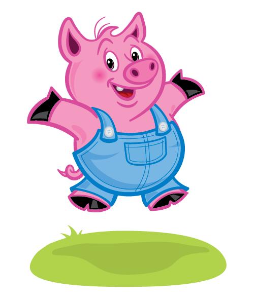 500x596 Happy Pig Cartoon Illustration Henstra Design