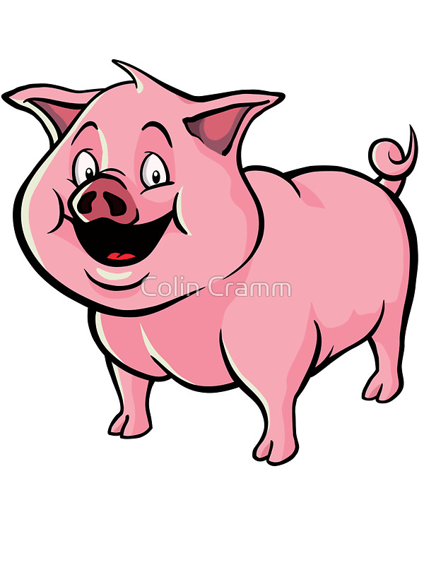 600x800 Happy Cartoon Pig Stickers By Colin Cramm Redbubble
