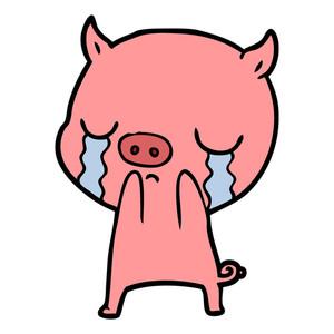300x300 Cartoon Pig Crying Royalty Free Stock Image