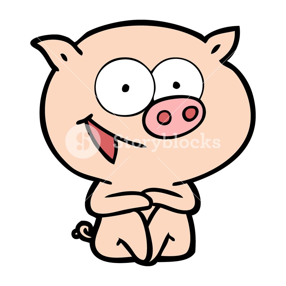 1000x1000 Cheerful Sitting Pig Cartoon Royalty Free Stock Image