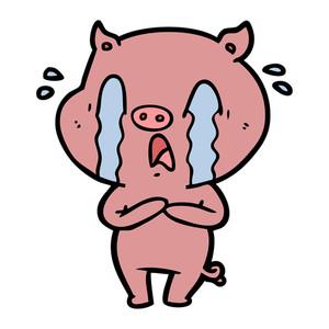 300x300 Crying Pig Cartoon Royalty Free Stock Image