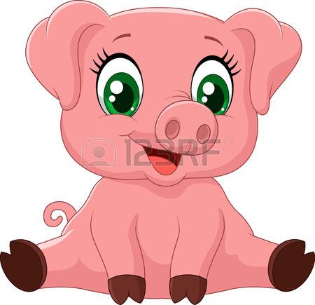 450x435 Cartoon Adorable Baby Pig,vector Illustration Royalty Free