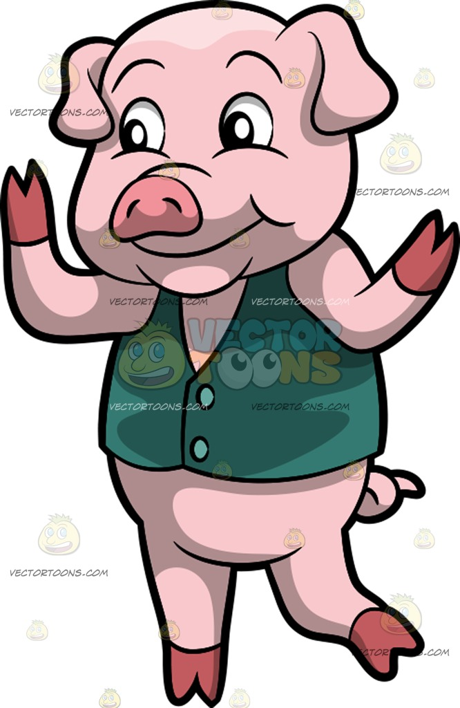 666x1024 A Dancing Pig Cartoon Clipart