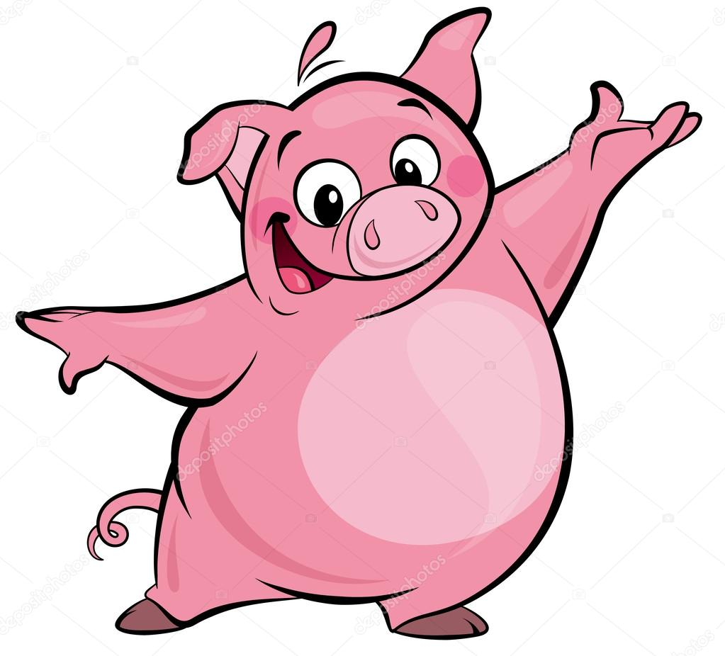 1023x926 Cartoon Happy Cute Pink Pig Character Presenting Stock Photo