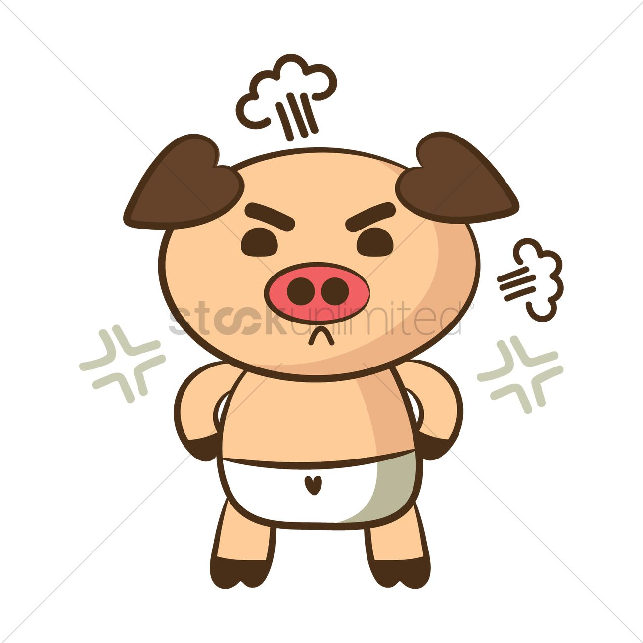 1300x1300 Cartoon Pig Feeling Angry Vector Image