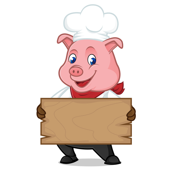 600x600 Chef Pig Cartoon With Wooden Plank Vector 02