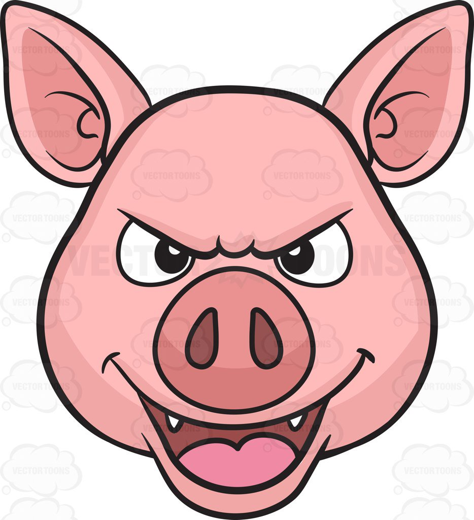 934x1024 A Mischievous Pig Cartoon Clipart
