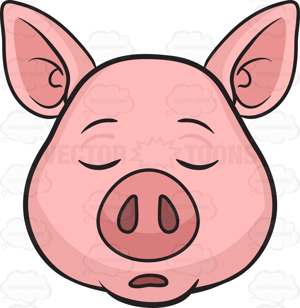 997x1024 A Sleeping Pig Cartoon Clipart