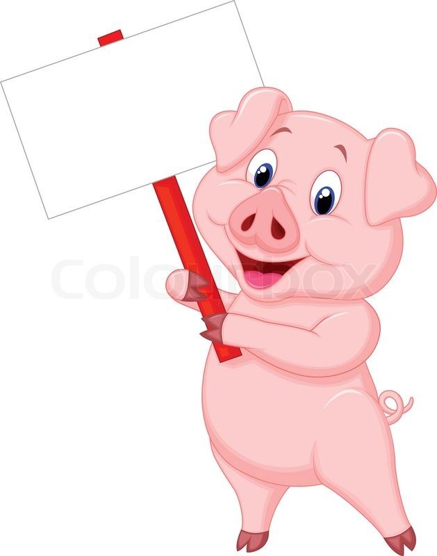 629x800 Vector Illustration Of Pig Cartoon Holding Blank Sign Stock