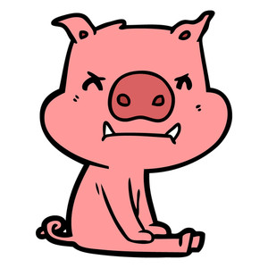 300x300 Cheerful Sitting Pig Cartoon Royalty Free Stock Image