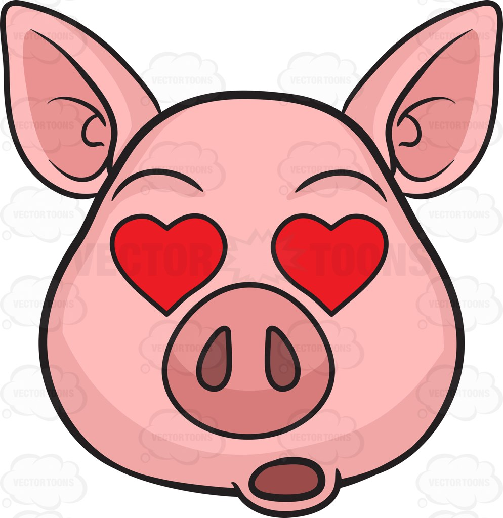 994x1024 A Pig In Love At First Sight Cartoon Clipart