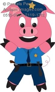 182x300 Art Illustration Of A Cartoon Pig Wearing Police Uniform