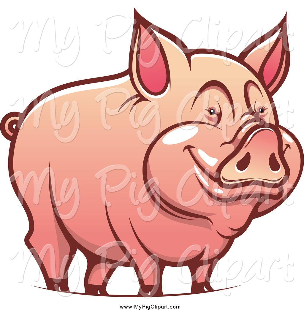 1024x1044 Swine Clipart Of A Happy Pig Smiling By Vector Tradition Sm