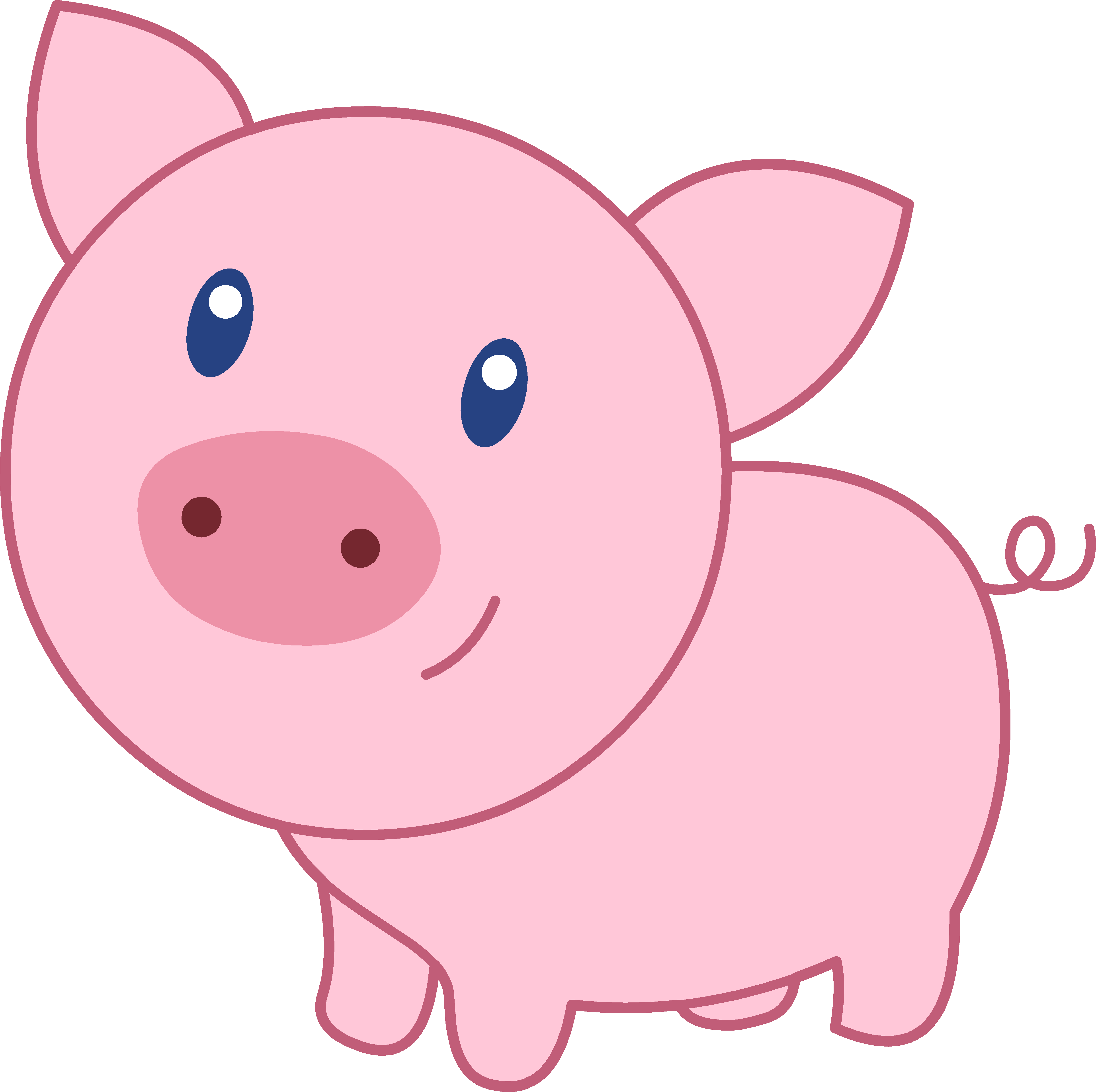 4945x4925 Cute Happy Pink Pig