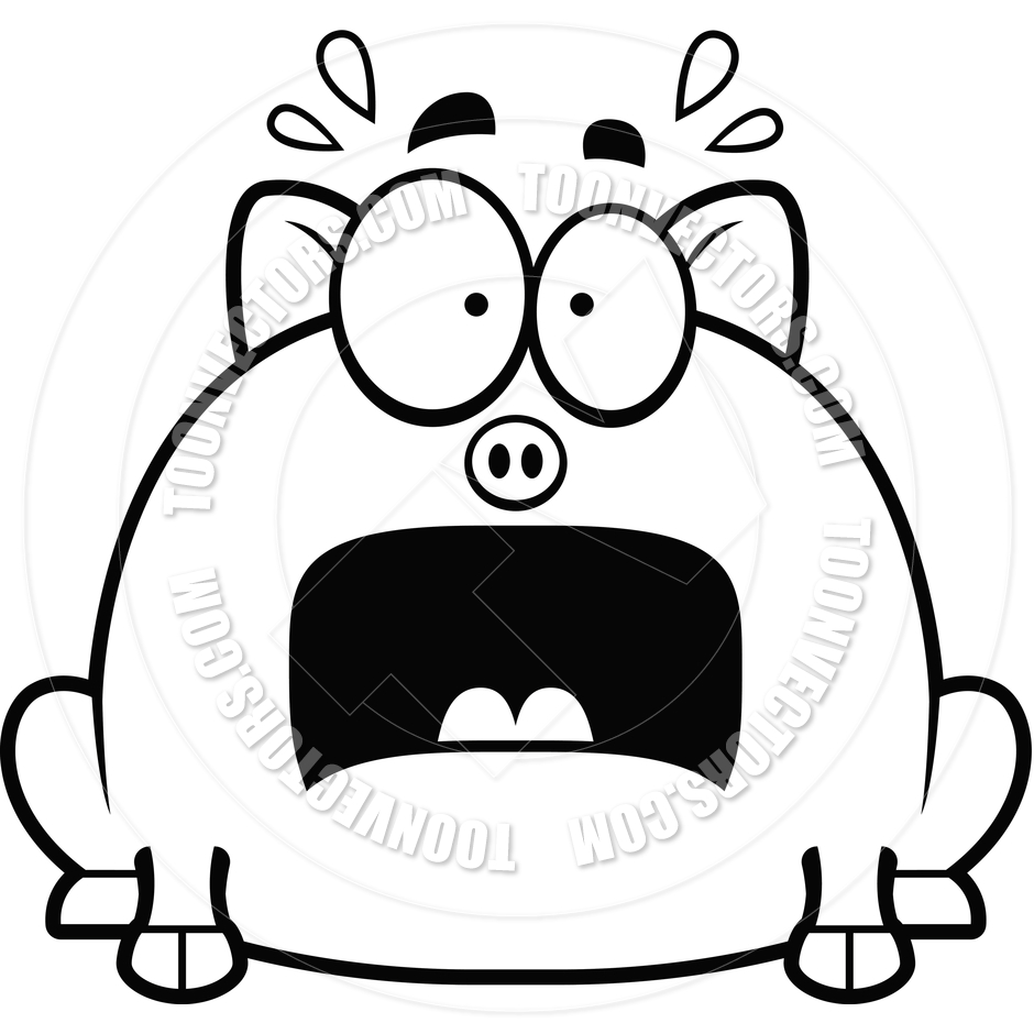 940x940 Cartoon Little Pig Scared (Black And White Line Art) By Cory