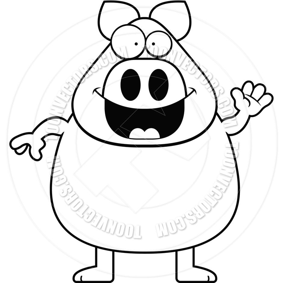 940x940 Cartoon Pig Waving (Black And White Line Art) By Cory Thoman