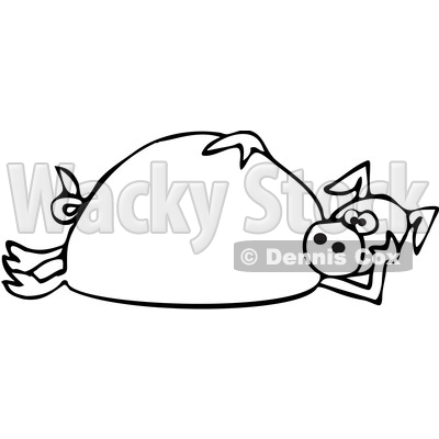 400x400 Of A Cartoon Black And White Lineart Pig Laying On His Side