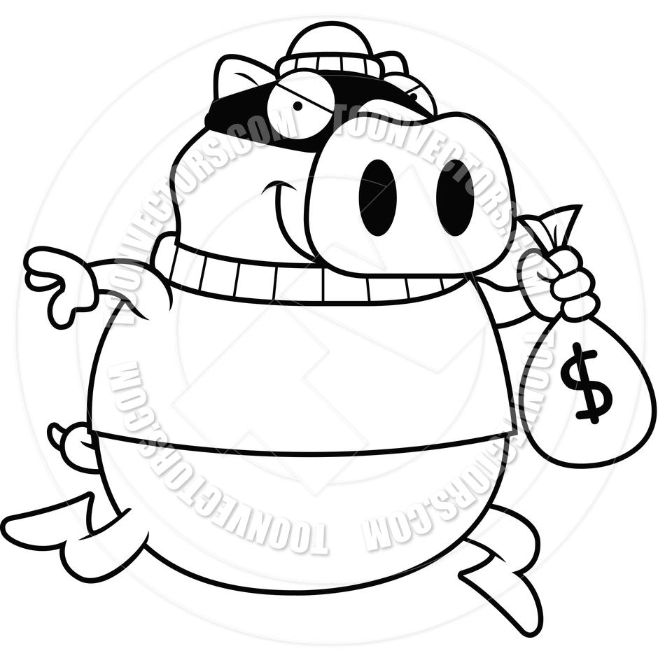 940x940 Cartoon Sneaky Pig Burglar (Black And White Line Art) By Cory