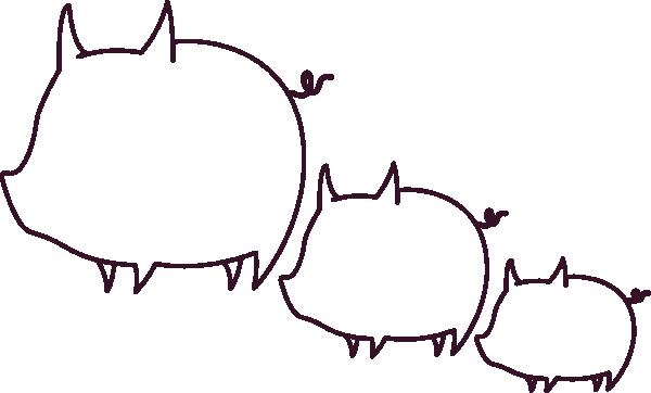 600x362 Pig Outline Clip Art