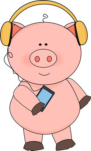 303x500 Pig Listening To Music Clip Art