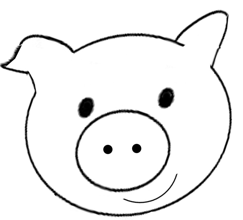 830x752 Pig Face Clip Art Clipartion Pig Ears Coloring Page In Coloring