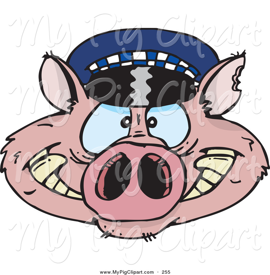 1024x1044 Swine Clipart Of A Pink Police Cop Pig Face By Dennis Holmes