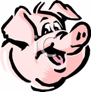 298x300 Colorful Cartoon Of A Happy Pigs Face