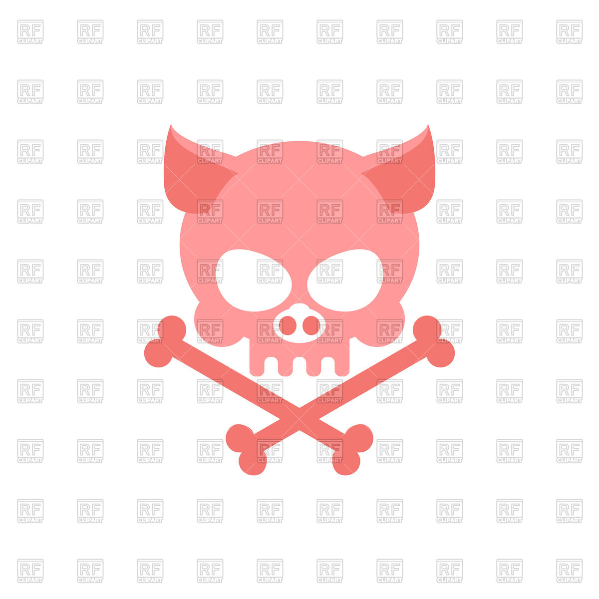 1200x1200 Pig Skull With Bones Royalty Free Vector Clip Art Image