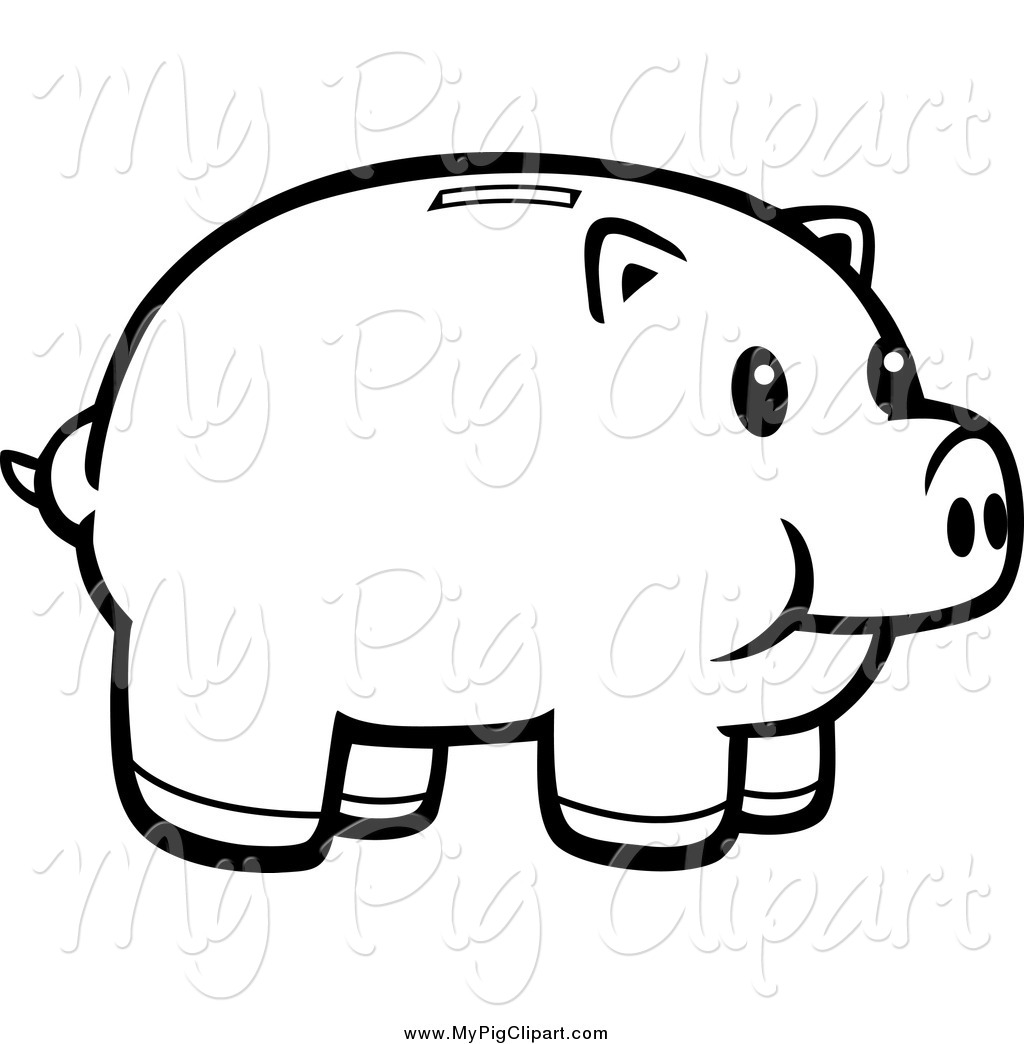 1024x1044 Black And White Piggy Bank Clipart
