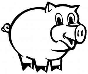 300x253 Black And White Pig Clipart