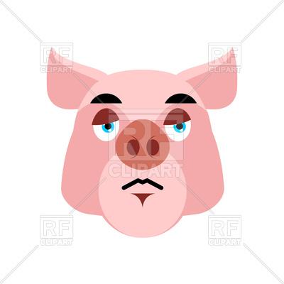 400x400 Pig Sad Emotion Royalty Free Vector Clip Art Image