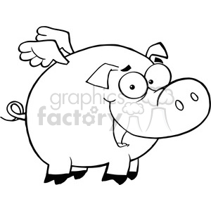300x300 Royalty Free Royalty Free Rf Copyright Safe Pig Flying Cartoon