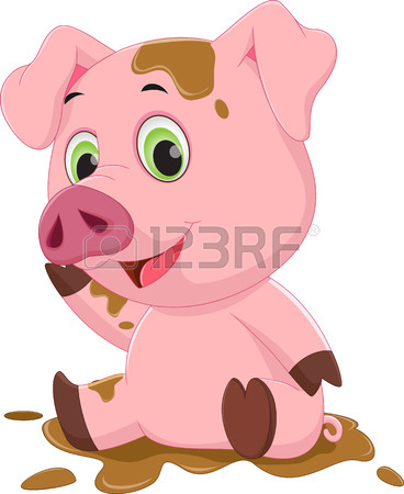 368x450 Cartoon Pig Play In Mud Royalty Free Cliparts, Vectors, And Stock